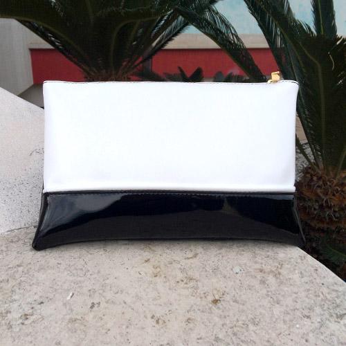 ae6024ad0a Pochette SHARLENE pelle bianca/ vernice nera – cod. 9340 | SHARLENE